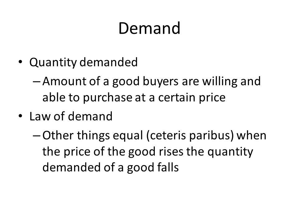Demand Quantity demanded
