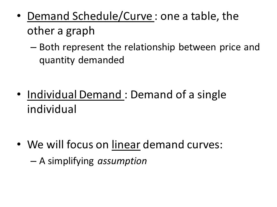 Demand Schedule/Curve : one a table, the other a graph