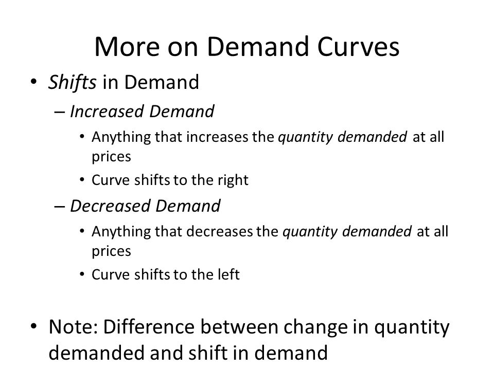 More on Demand Curves Shifts in Demand
