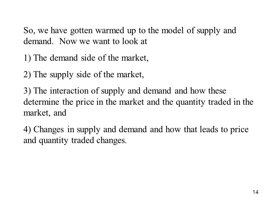 So, we have gotten warmed up to the model of supply and demand
