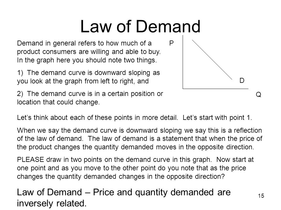 Law of Demand Demand in general refers to how much of a product consumers are willing and able to buy. In the graph here you should note two things.
