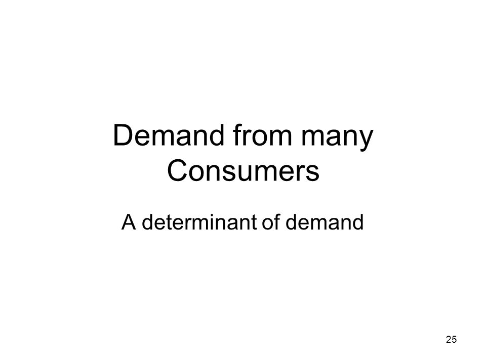 Demand from many Consumers