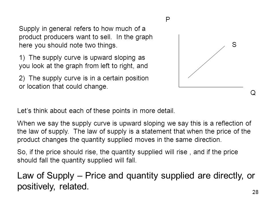 P Supply in general refers to how much of a product producers want to sell. In the graph here you should note two things.