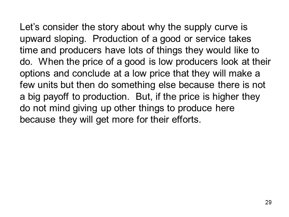 Let's consider the story about why the supply curve is upward sloping
