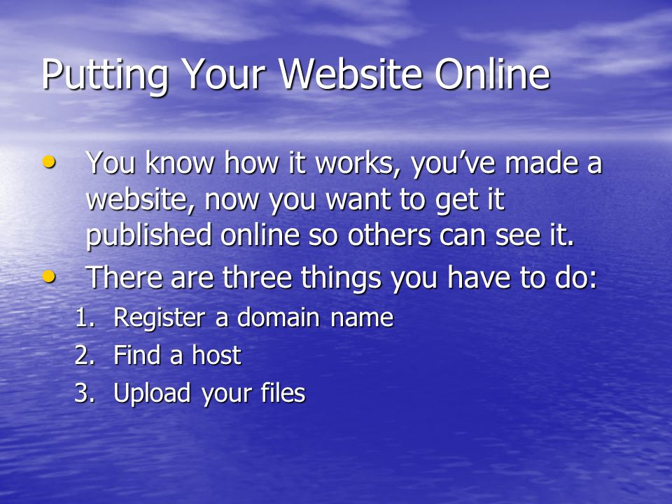 Putting Your Website Online