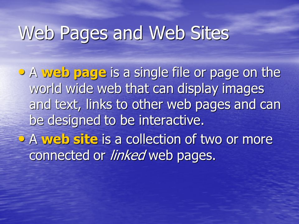 Web Pages and Web Sites