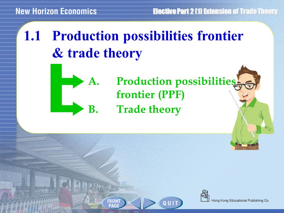 1.1 Production possibilities frontier & trade theory