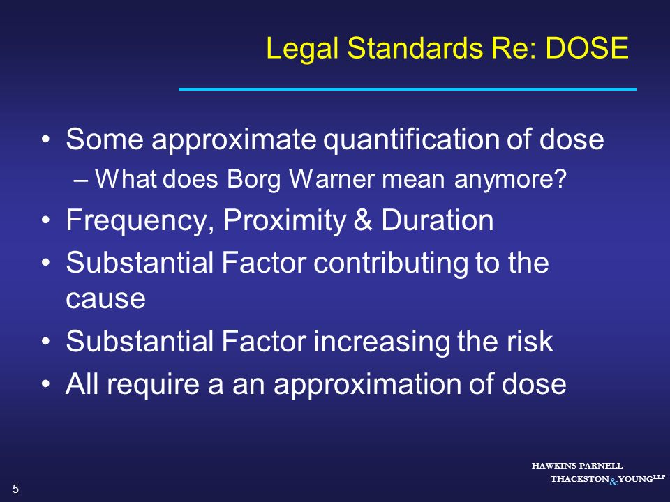Legal Standards Re: DOSE