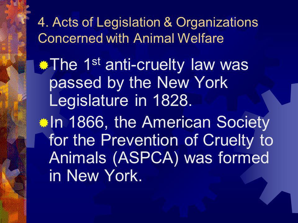 4. Acts of Legislation & Organizations Concerned with Animal Welfare
