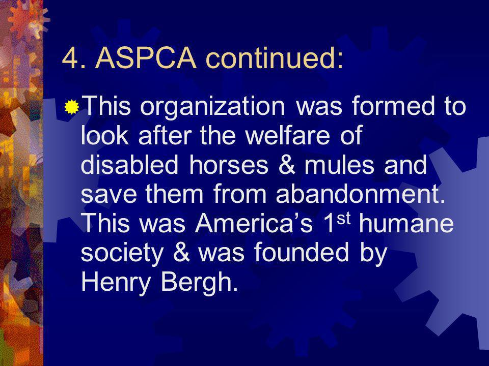 4. ASPCA continued: