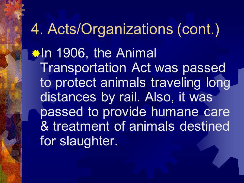 4. Acts/Organizations (cont.)