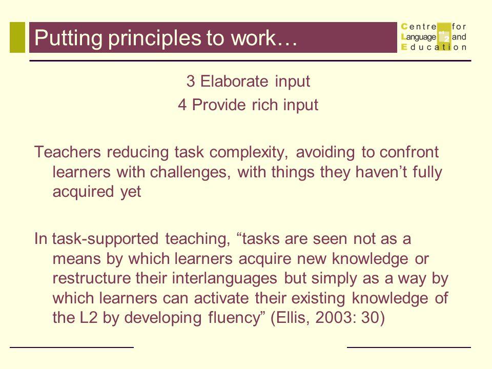 Putting principles to work…