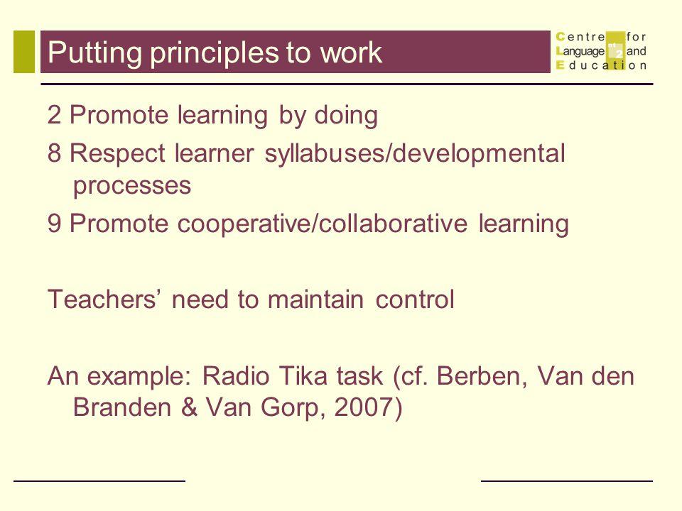 Putting principles to work