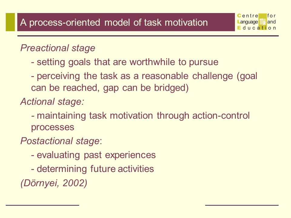 A process-oriented model of task motivation