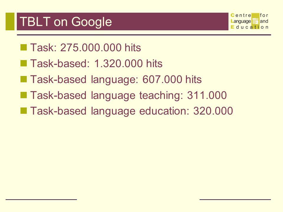 TBLT on Google Task: 275.000.000 hits Task-based: 1.320.000 hits