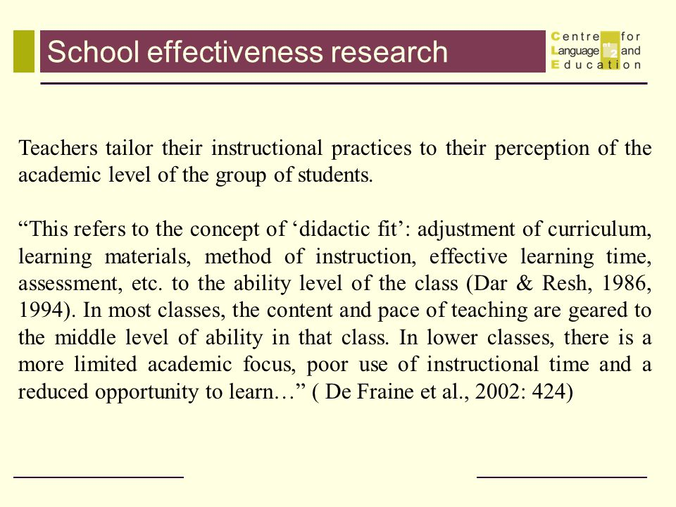 School effectiveness research