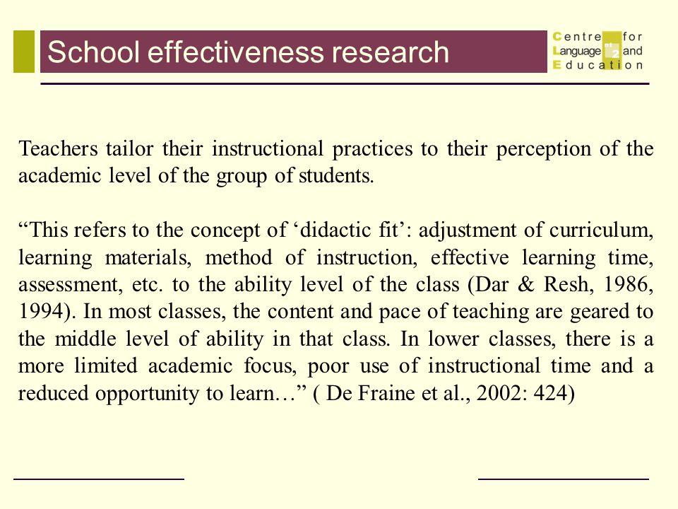 School effectiveness research