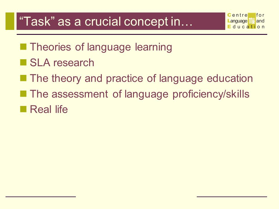 Task as a crucial concept in…