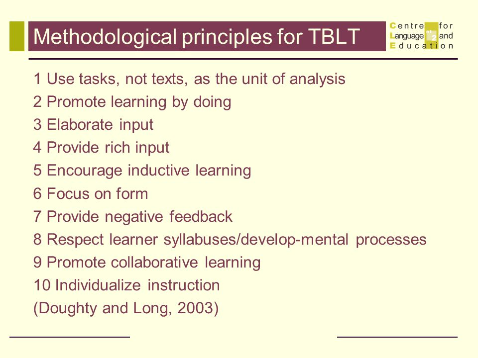 Methodological principles for TBLT