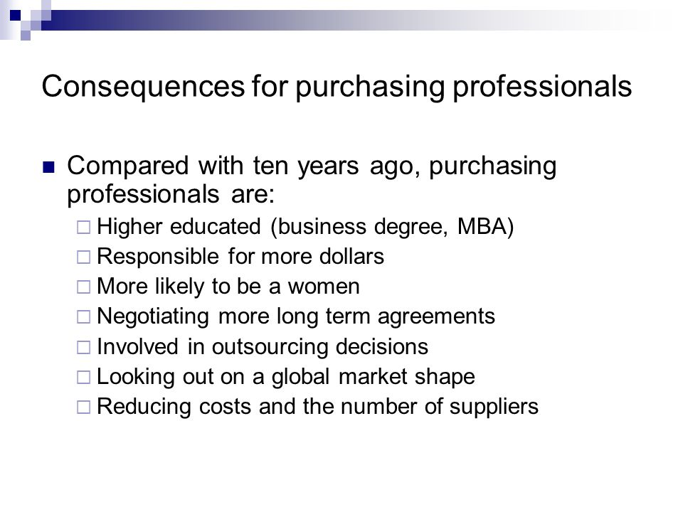 Consequences for purchasing professionals
