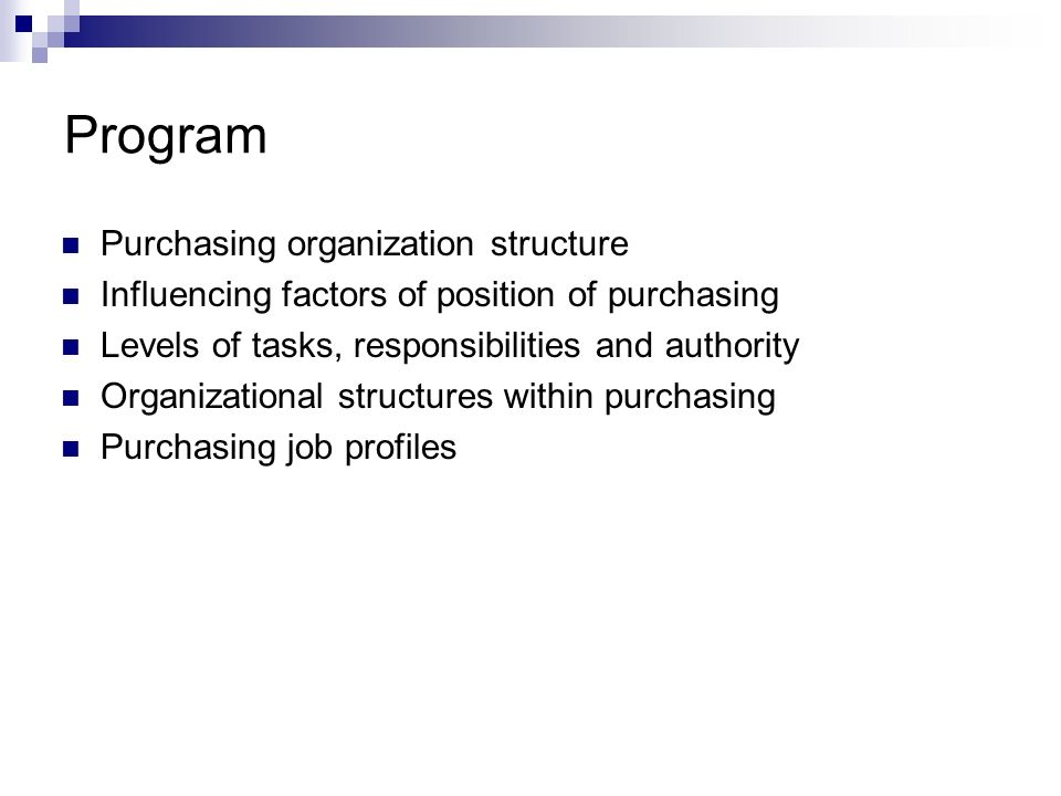 Program Purchasing organization structure