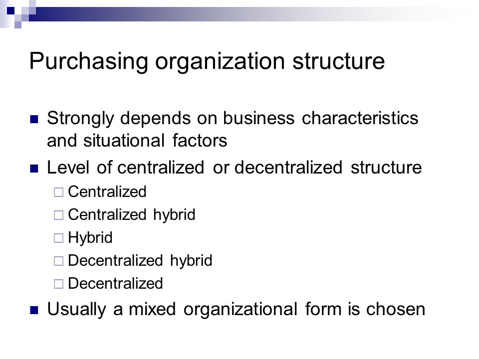 Purchasing organization structure