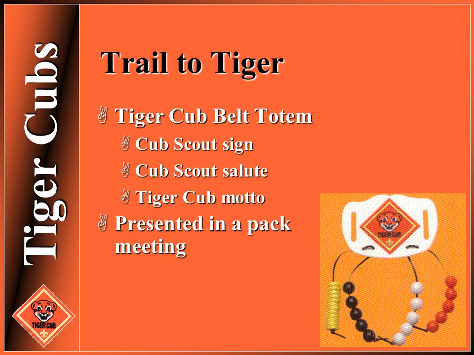 Trail to Tiger Tiger Cub Belt Totem Presented in a pack meeting