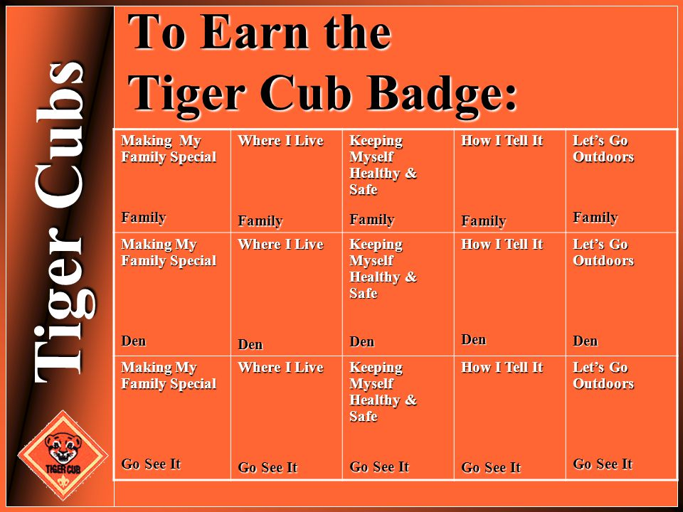 To Earn the Tiger Cub Badge: