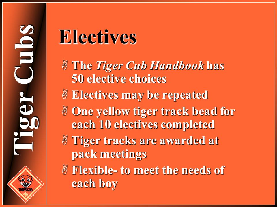 Electives The Tiger Cub Handbook has 50 elective choices