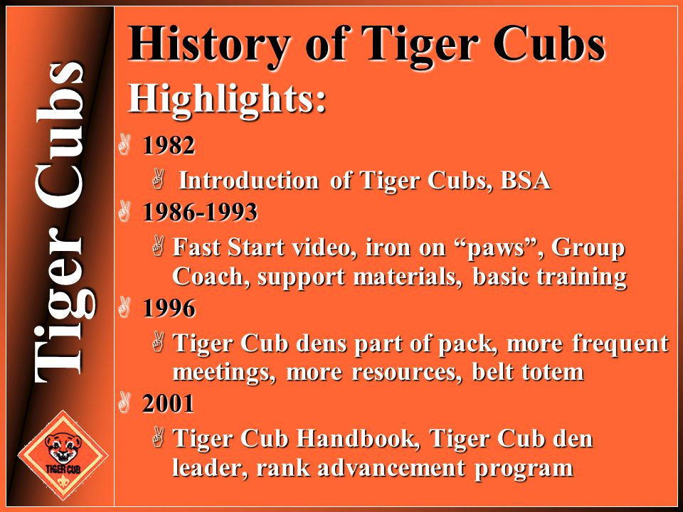 History of Tiger Cubs Highlights: