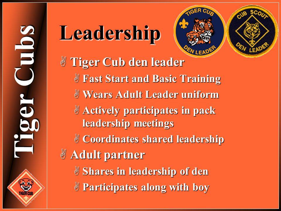 Leadership Tiger Cub den leader Adult partner
