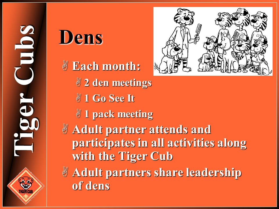 Dens Each month: 2 den meetings. 1 Go See It. 1 pack meeting. Adult partner attends and participates in all activities along with the Tiger Cub.