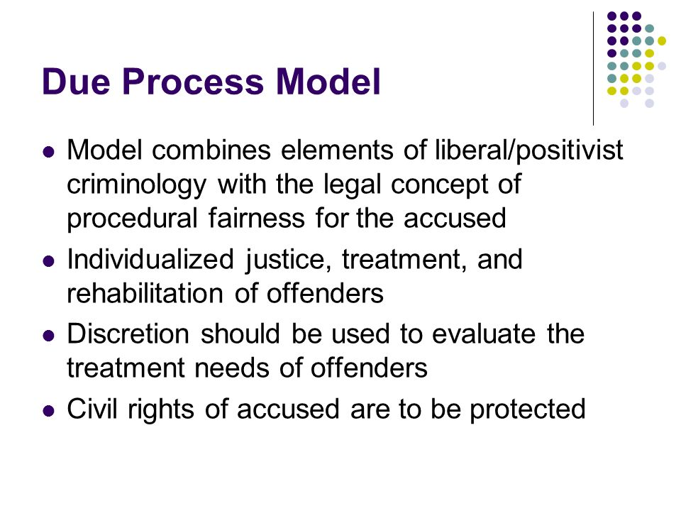 Due Process Model Model combines elements of liberal/positivist criminology with the legal concept of procedural fairness for the accused.