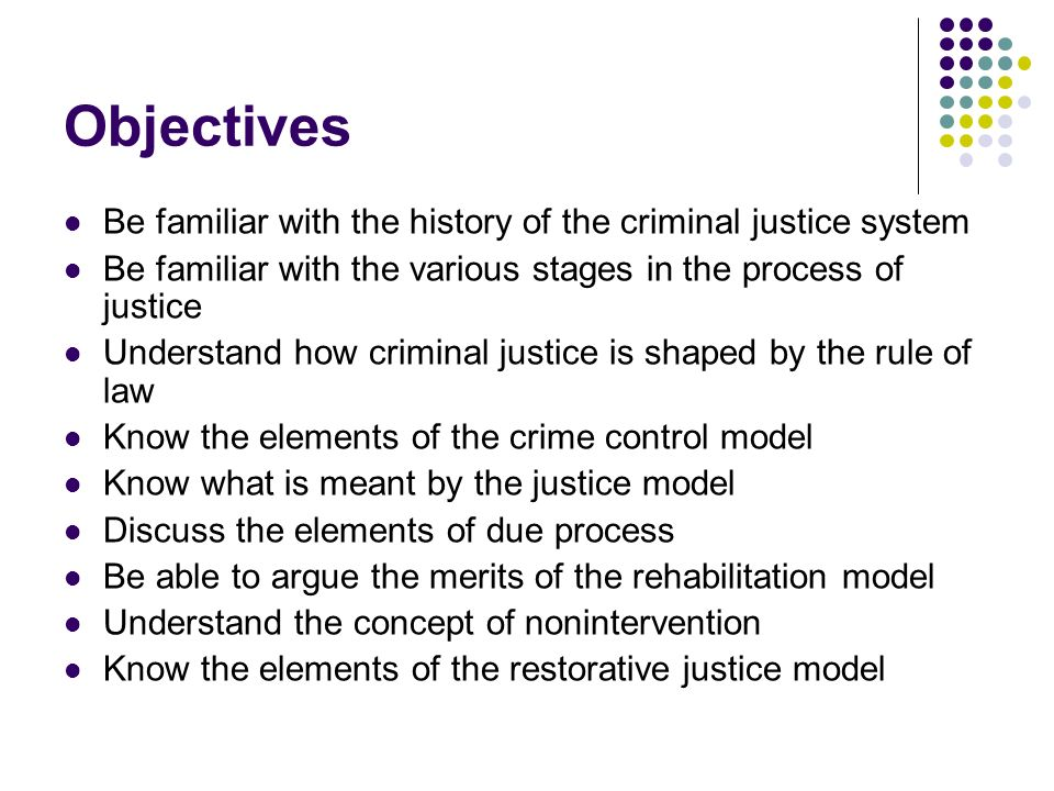 Objectives Be familiar with the history of the criminal justice system
