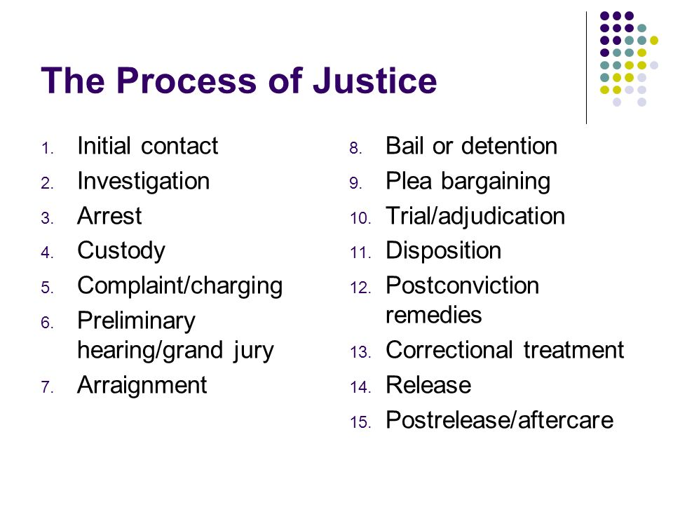 The Process of Justice Initial contact Investigation Arrest Custody
