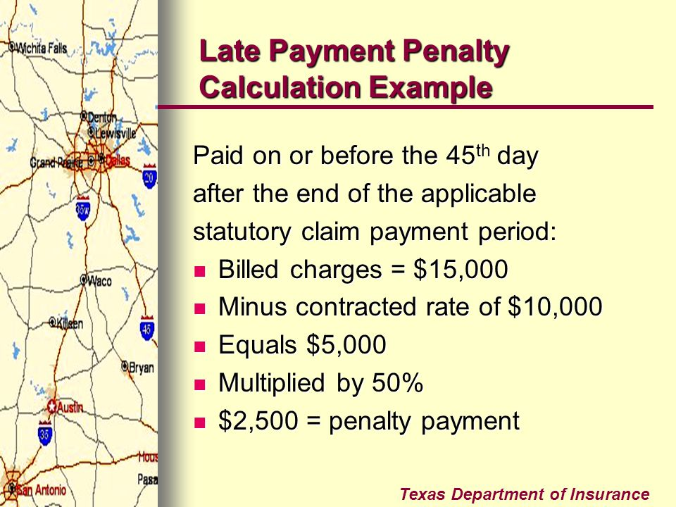 Late Payment Penalty Calculation Example