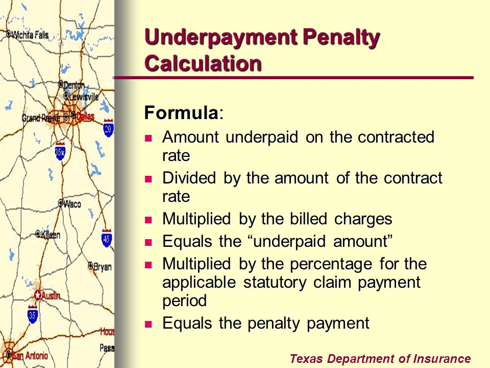 Underpayment Penalty Calculation