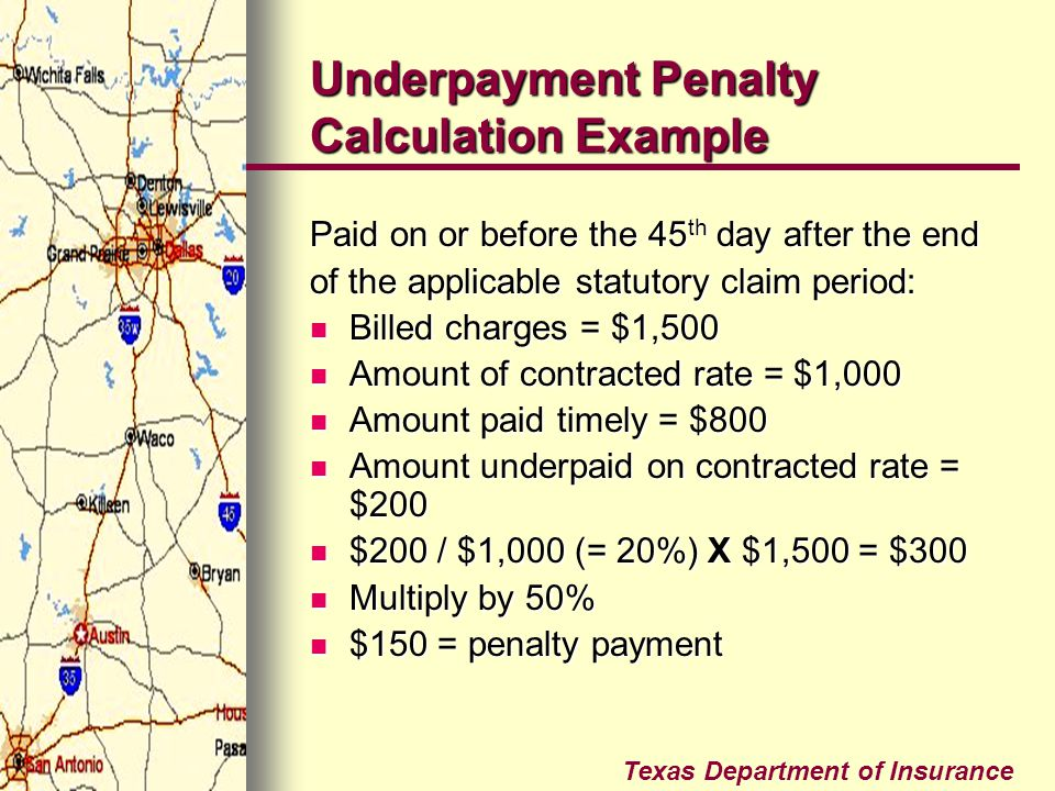 Underpayment Penalty Calculation Example