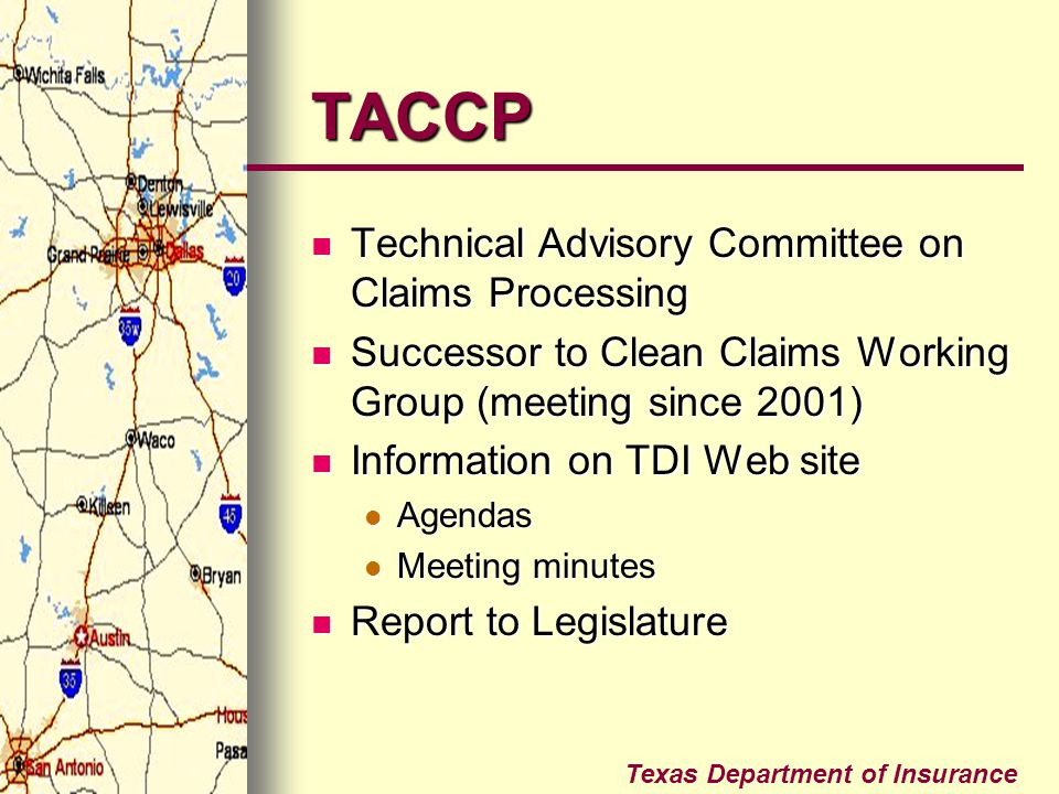 TACCP Technical Advisory Committee on Claims Processing