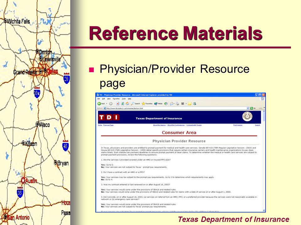 Reference Materials Physician/Provider Resource page