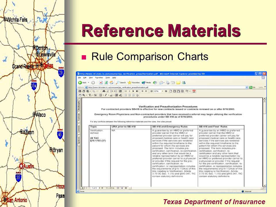 Reference Materials Rule Comparison Charts