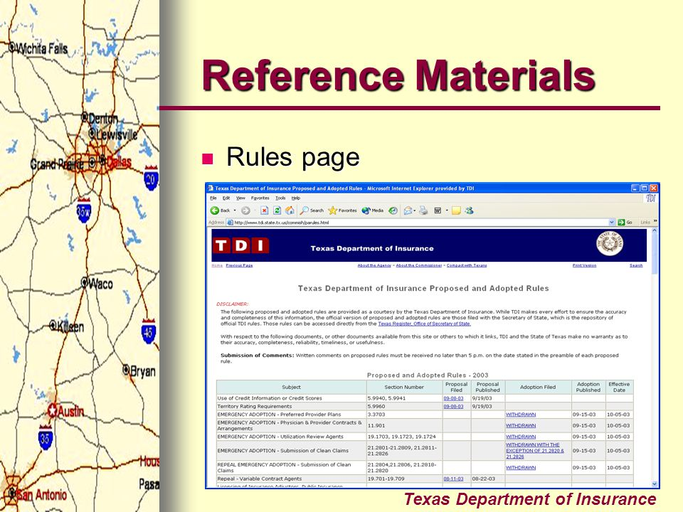 Reference Materials Rules page