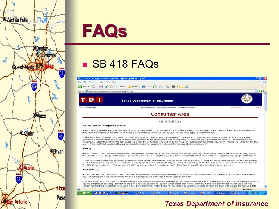 FAQs SB 418 FAQs