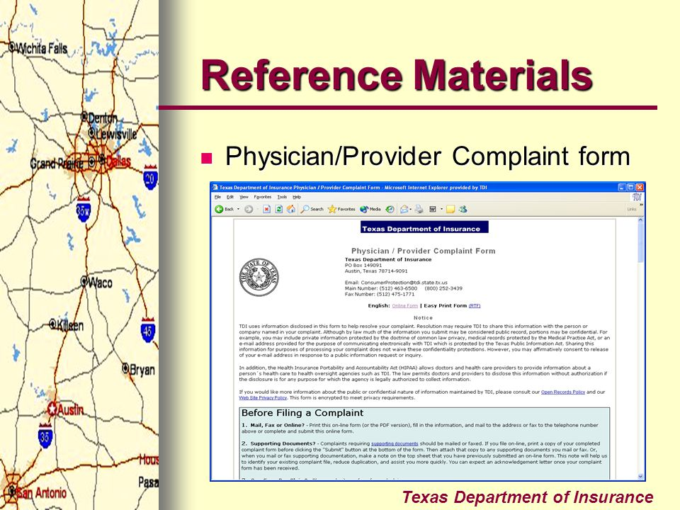 Reference Materials Physician/Provider Complaint form