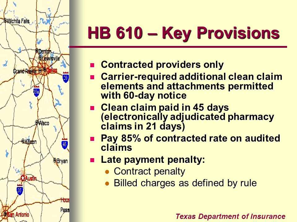 HB 610 – Key Provisions Contracted providers only