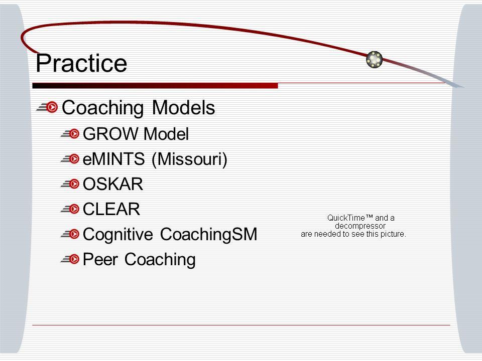 Practice Coaching Models GROW Model eMINTS (Missouri) OSKAR CLEAR
