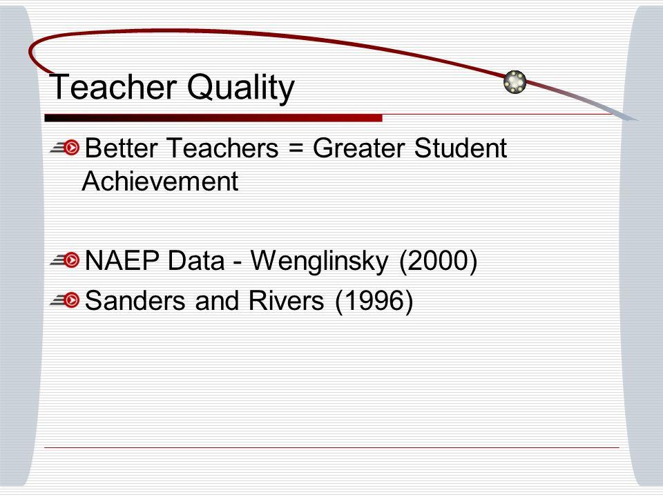 Teacher Quality Better Teachers = Greater Student Achievement