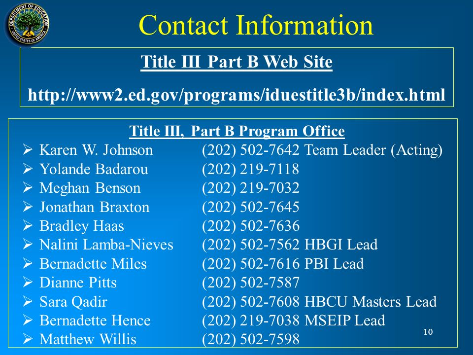 Title III Part B Web Site Title III, Part B Program Office