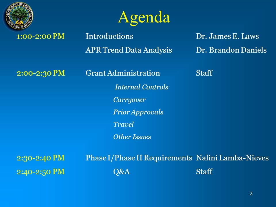Agenda 1:00-2:00 PM Introductions Dr. James E. Laws