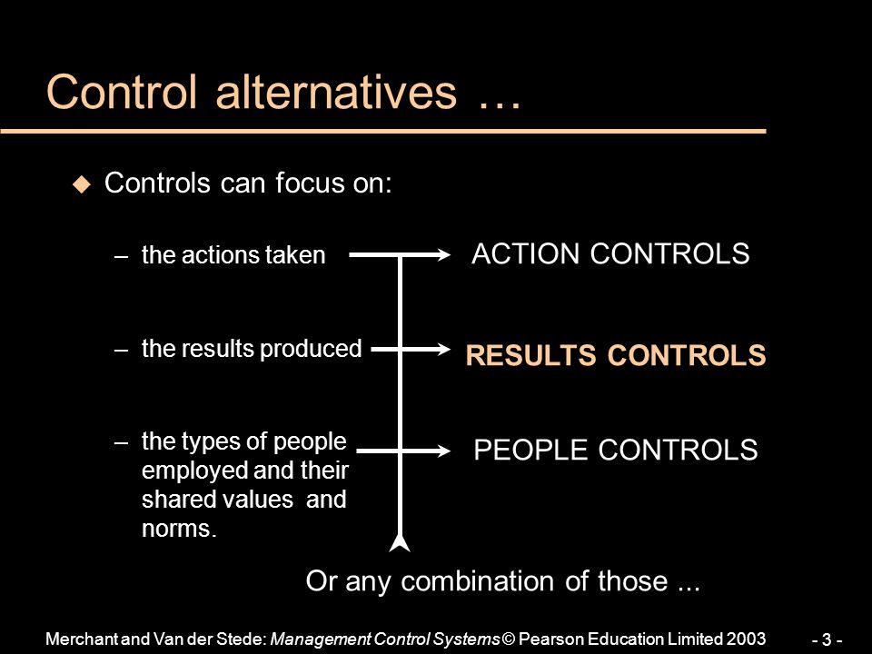 Control alternatives …